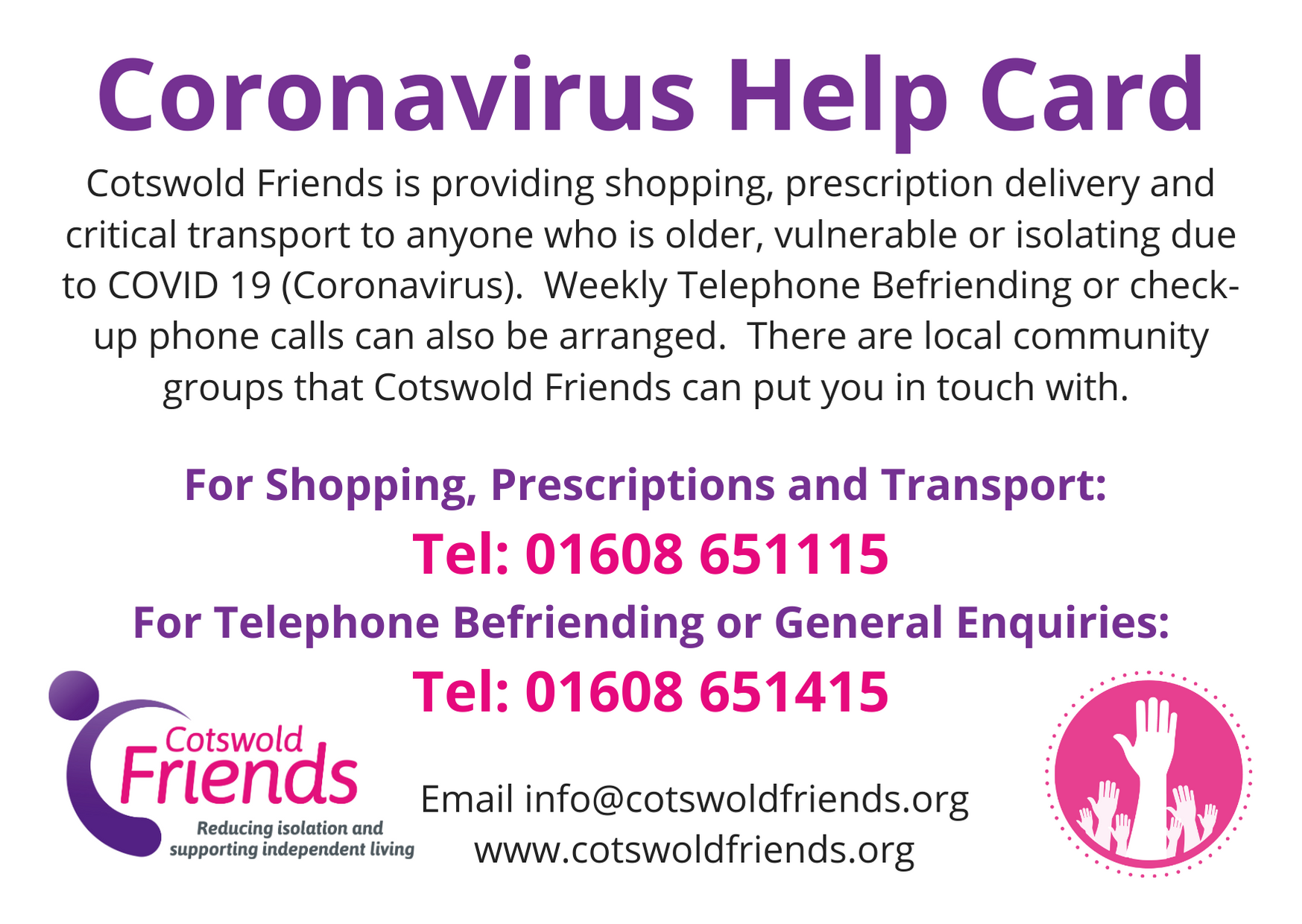 20,000 Coronavirus Help Cards Distributed