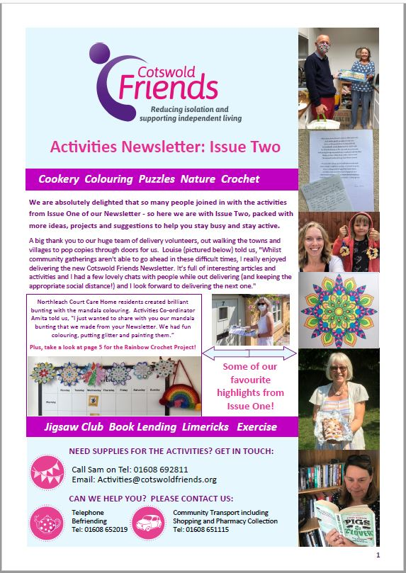 Issue Two of Activities Newsletter distributed